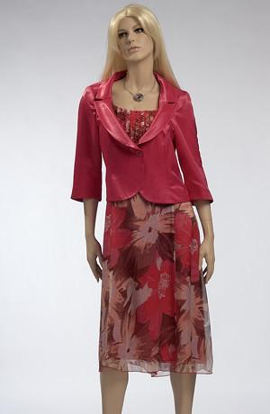 Letní dámský komplet - lehké květované šaty se sáčkem.