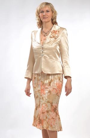 Hnědozlatý dámský šatový kostýmek