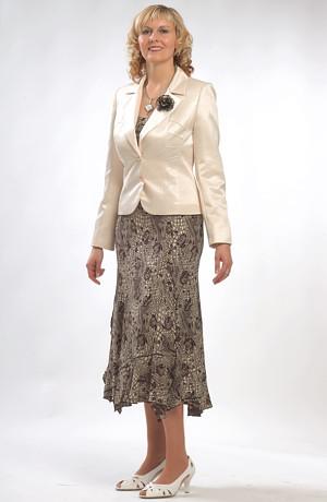 Šedobílý dámský šatový kostýmek