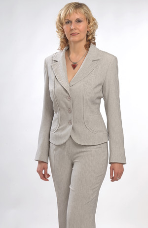 Béžový dámský kalhotový kostýmek