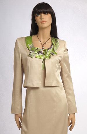 Elegantní pouzdrové šaty a kabátek s barevným zdobením.