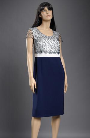 Luxusní společenský kostým - dvoubarevné šaty a kabátek.