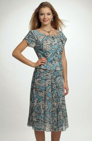 Letní společenké šaty s děleným sedlem a protaženou mašlí