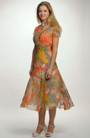 Letní společenské šifónové šaty s bolerkem pro plnoštíhlé postavy, vel. 42, 46, 50