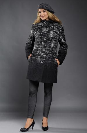 Dámský módní kabát z lodenu a s bílošedým vzorem