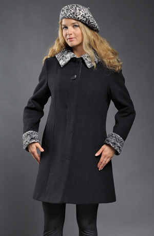 Mladistvý tříčtvrteční kabát s límcovou kapucí