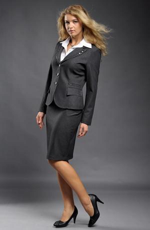 Elegantní dámský kostýmek se sukní a kalhotami