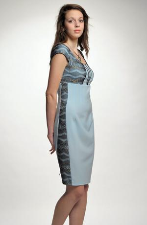 Pouzdrové společenské krajkové šaty s bolerkem