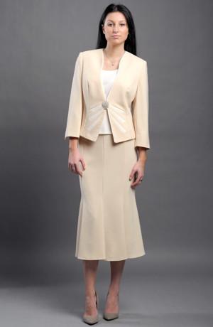 Dámský elegantní komplet - kabátek, top a sukně.