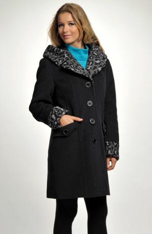 Dámský módní kabát s černošedým lemem
