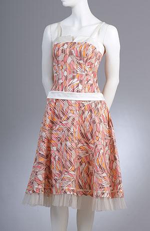Korzetové minišaty s kolovou sukní a vzorem s pruhem