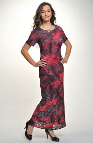 Luxusní plesové dlouhé šaty z krajky s potiskem batiky