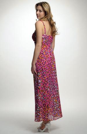 Letní společenské šaty se zajímavým grafickým vzorem z jemného hedvábí hedvábného šifonu.