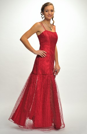 Dlouhé červené plesové šaty z taftu s ozdobným tylem ve vel.40