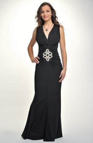 Dlouhé luxusní společenské šaty z elastického materiálu, vel. 46.