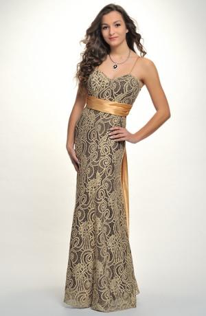 Elegantní plesové večerní šaty z krajky, vel. 38