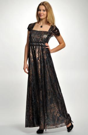 Dlouhé večerní šaty pro plnoštíhlé a nadměrné velikosti z efektního materiálu, vel. 52
