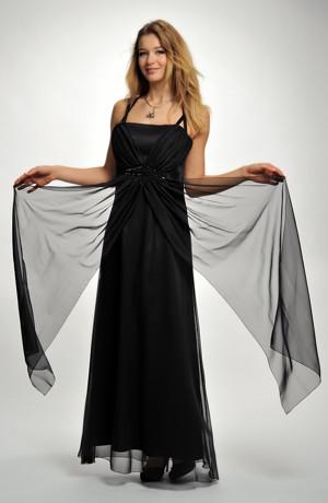 Dlouhé černé plesové šaty na ozdobná ramínka, i pro větší velikosti, 36, 38, 40