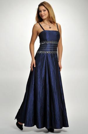 Dlouhé raminkové společenské šaty se stříbrnou krajkovou portou. Velikost 38, 40, 42