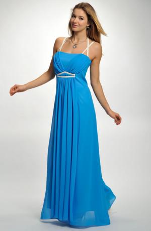 Dlouhé šaty v antického duchu v kobaltové barvě, vel.40