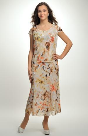 Dámský květovaný trojkomplet se sukní