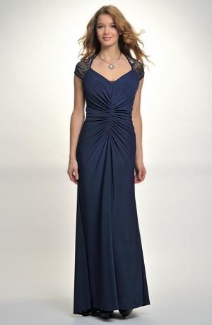 Dlouhé dámské společenské modré plesové šaty v kombinaci s tylem