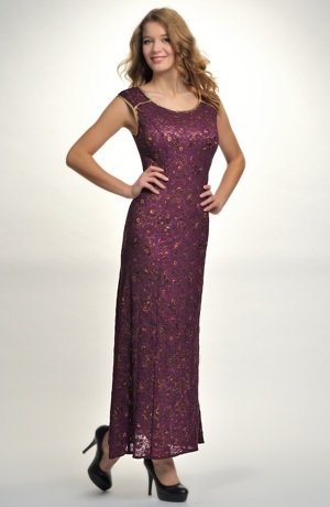 Dlouhé dámské večerní šaty se vzorem zlatých kytiček