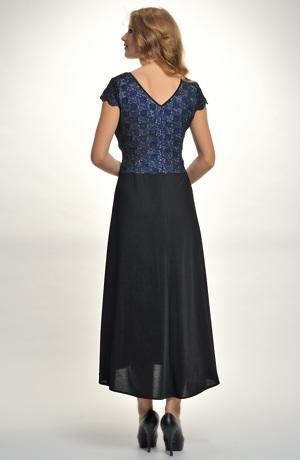 Elegantní dámské dlouhé večerní šaty s průstřihem a s řasením v pase, vel. 42