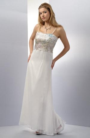 Dlouhé bílé společenské šaty na svatbu s krajkovým živůtkem v mírně rozšířené siluetě, vel. 36, 38.