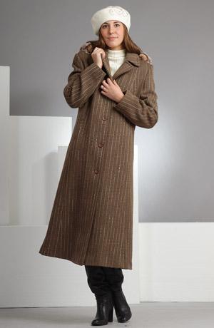 Velmi elegantní dlouhý dámský kabát v tlumené khaki barvě.