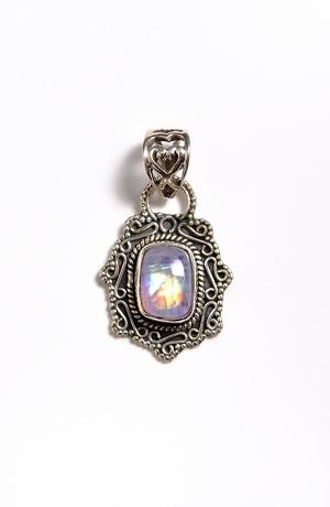 Stříbrný přívěšek s kamenem - DUHOVÝ MĚSÍČNÍ KÁMEN