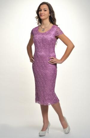 Fialkové dámské společenské šaty i pro plnoštíhlé postavy. Vel. 44, 46, 48, 50, 52