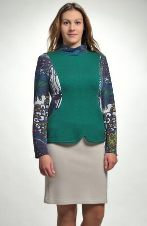 Pletený svetřík zelený