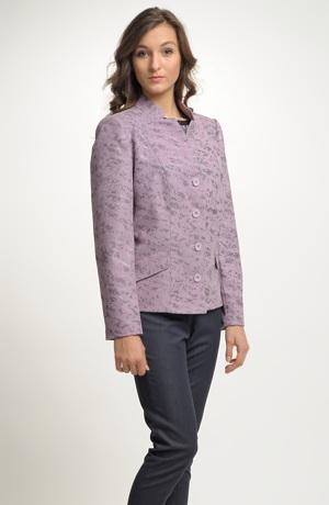 Moderní dámské sako z elastického materiálu s potiskem