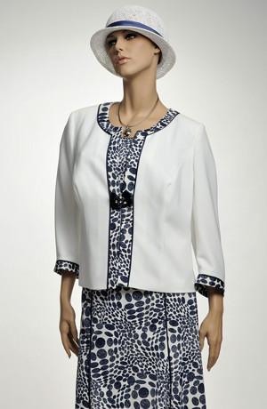 Luxusní dámský kostýmek v modrobílé kombinaci