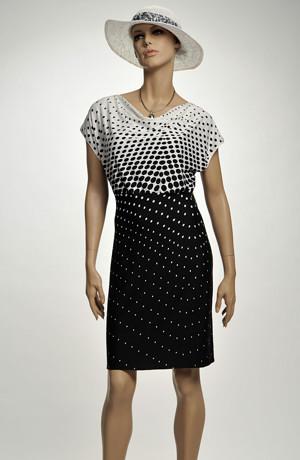 Letní krátké společenské šaty s řasením na sedle