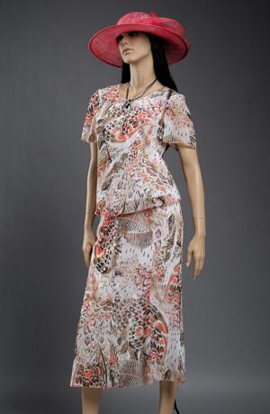 Dámský kostýmek pro plnoštíhlé s dílovou sukní.