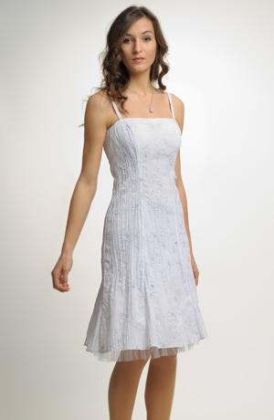 Krátké šaty na tenká ramínka s efektním tiskem.