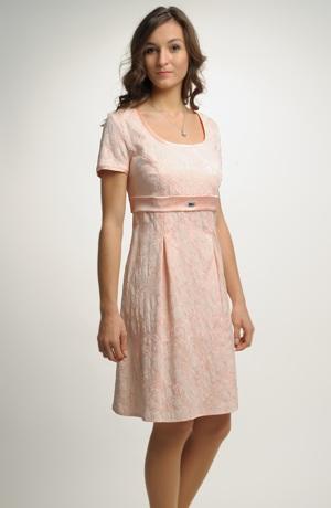Dívčí empírové šaty s rukávky a ozdobnou stuhou pod prsy.