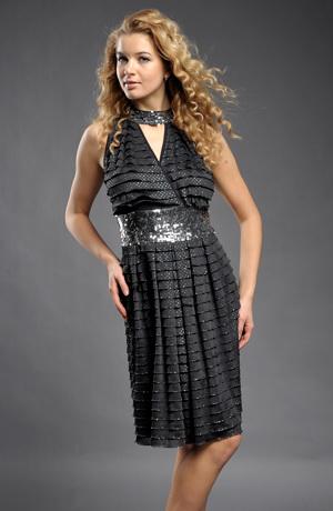 Společenské retro šaty se stříbrnými puntíky