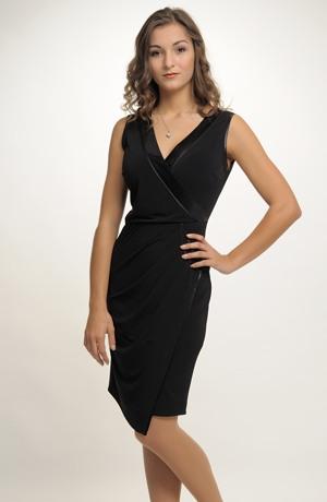 Společenské černé zavinovací šaty i pro plnější postavy