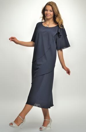 Dlouhé elegantní společenské šaty pro plnoštíhlé