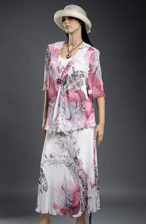 Dlouhé letní šaty s šifónovým kabátkem