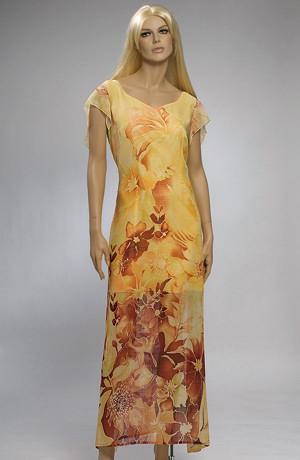 Společenské šifónové šaty na léto s květinovým vzorem.