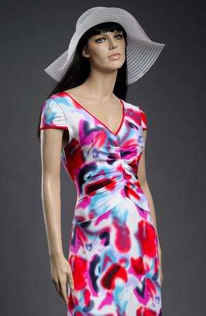 Letní šaty s velkým vzorem ruční malby