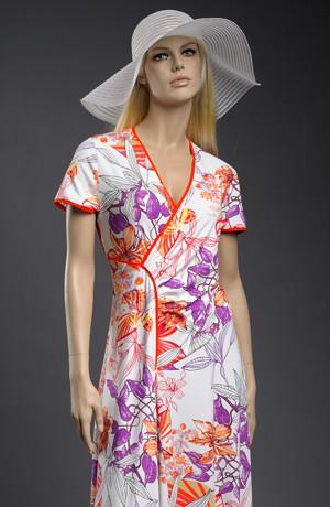 Šaty s živůtkem na bok a s velkým květinovým vzorem