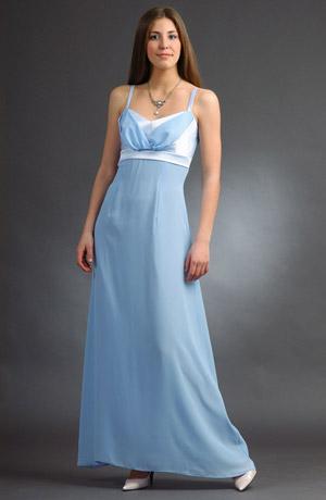Elegantní dlouhé modré šaty na ples s ramínky a stuhou.