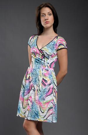 Letní elastické viskózové šaty