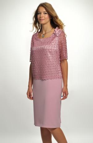 Fialkové společenské šaty
