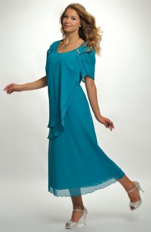 Šifonové šaty s řasením na boku do ozdoby ze sklíček